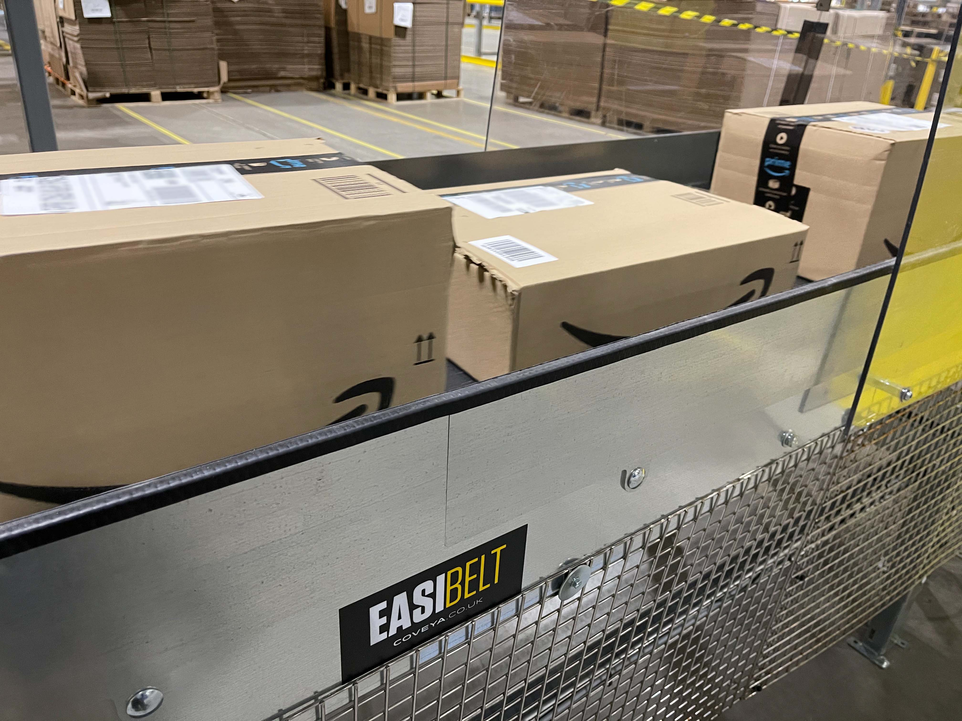 Amazon Milton Keynes Distribution center: A&S Engineering [Easibelt Conveyors & 600mm Powered Lineshaft 90-Degree Bend Conveyor]